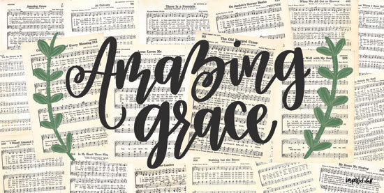 Imperfect Dust DUST244 - Amazing Grace - 18x9 Amazing Grace, Sheet Music, Calligraphy, Greenery, Music from Penny Lane