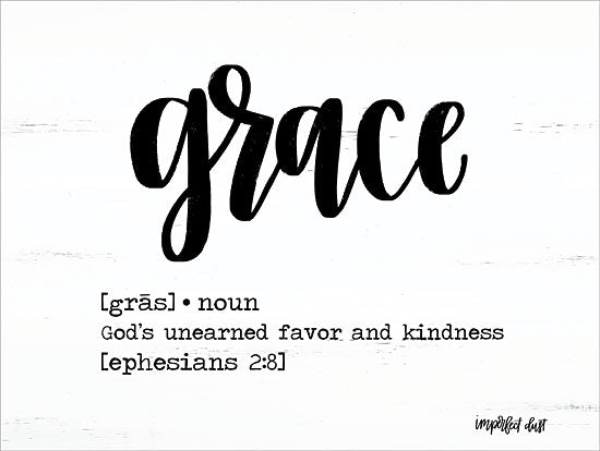 Imperfect Dust DUST259 - DUST259 - Grace     - 16x12 Black & White, Signs, Definition, Ephesians 2:8, Typography from Penny Lane