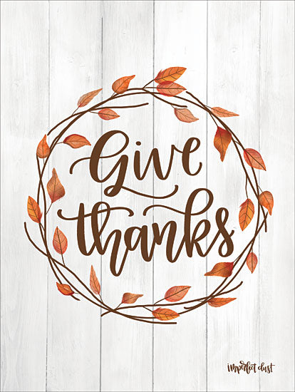 Imperfect Dust DUST321 - DUST321 - Give Thanks Wreath - 12x16 Give Thanks, Wreath, Thanksgiving, Calligraphy, Shiplap from Penny Lane