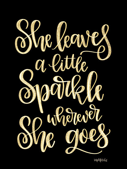 Imperfect Dust DUST379 - DUST379 - She Leaves a Little Sparkle II - 12x16 Leaves a Little Sparkle, Gold and Black, Signs from Penny Lane