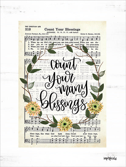 Imperfect Dust DUST440 - DUST440 - Count Your Many Blessings - 12x16 Sheet Music, Count Your Many Blessings, Floral Wreath, Song from Penny Lane