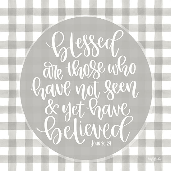 Imperfect Dust DUST454 - DUST454 - Blessed Are Those - 12x12 Plaid, Signs, John 20:29, Bible Verse, Calligraphy from Penny Lane