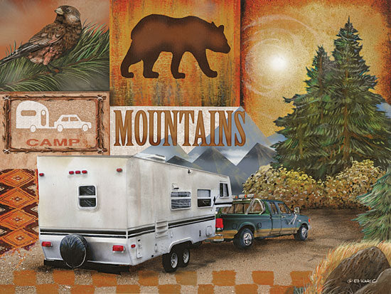 Ed Wargo ED370 - Camping Collage I - Camping, Collage, Camper, Bear, Truck from Penny Lane Publishing