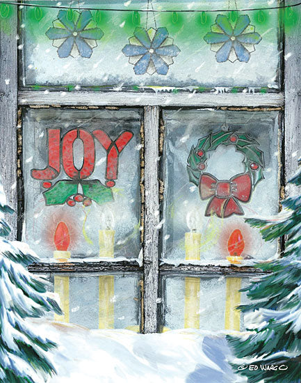 Ed Wargo ED384 - Christmas Joy Holidays, Stain Glass, Ornaments, Vintage, Candles, Window from Penny Lane