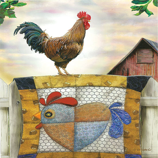 Ed Wargo ED388 - Rooster and Quilt Rooster, Quilt, Farm, Barn, Humorous, Country from Penny Lane