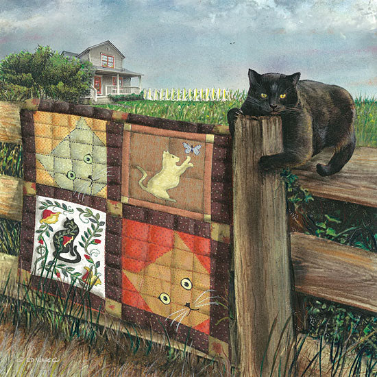 Ed Wargo ED389 - Quilt Cat Cats, Quilt, Fence, Humorous, Country from Penny Lane