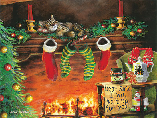 Ed Wargo ED392 - I Will Wait Up Holidays, Fireplace, Cat, Santa Claus, Night Before Christmas from Penny Lane