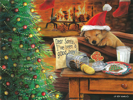 Ed Wargo ED393 - I've Been a Good Boy Holidays, Fireplace, Dog, Santa Claus, Night Before Christmas from Penny Lane