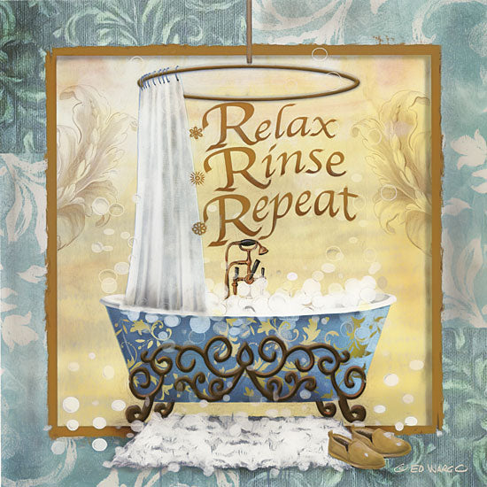Ed Wargo ED395 - Relax, Rinse, Repeat - 12x12 Bathtub, Bath, Relax, Rinse, Iconography from Penny Lane