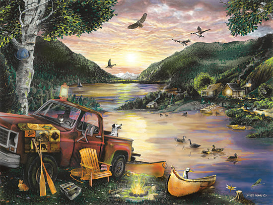 Ed Wargo ED413 - ED413 - Lakefront Camping I - 16x12 Camping, Truck, Birds, Dog, Canoe, Adirondack Chair, Fire, Campsite, Lake, Nature from Penny Lane