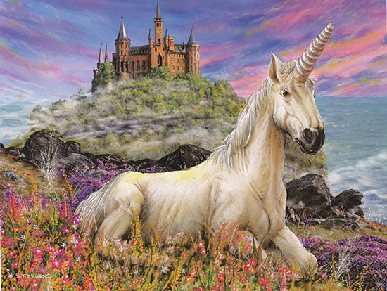 Ed Wargo ED416 - ED416 - Royal Unicorn - 16x12 Fantasy, Unicorn, Castle, Seaside from Penny Lane
