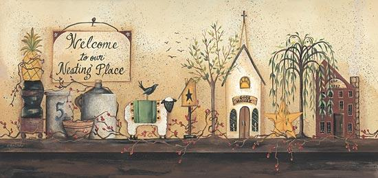 Gail Eads GE220 - Nesting Place Shelf - Still Life, Sign, Berries, Pineapple, Church, Shelf from Penny Lane Publishing