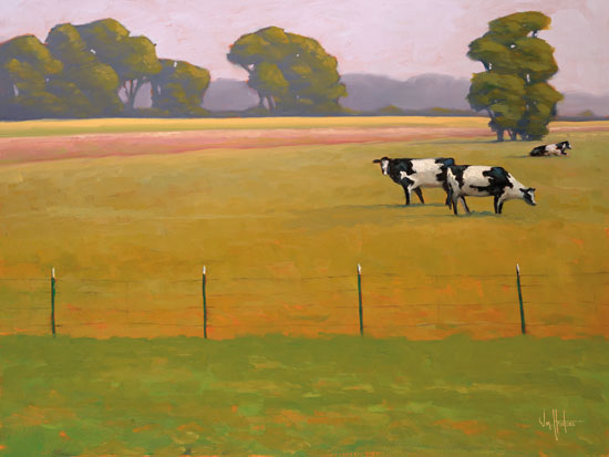 William Hawkins HAWK108 - Black & White Among the Green & Gold - 16x12 Cows, Pasture, Fields, Trees, Grazing from Penny Lane