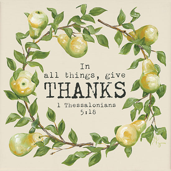 Hollihocks Art HH102 - Give Thanks - 12x12 Give Thanks, Pears, Wreath, Bible Verse, Thessalonians, Thanks from Penny Lane