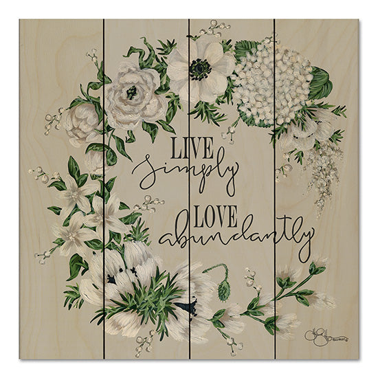 Hollihocks Art HH103PAL - Live Simply Live Simply, Love, Flowers, White Flowers, Blooms, Wreath from Penny Lane