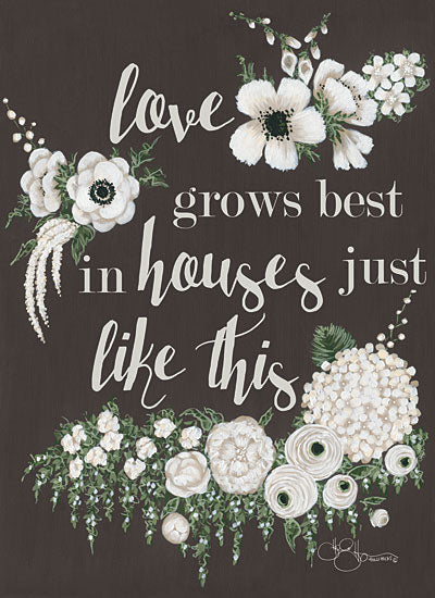 Hollihocks Art HH105 - Love Grows - 12x16 Love Grows, House, Family, Flowers, White Flowers, Blooms from Penny Lane