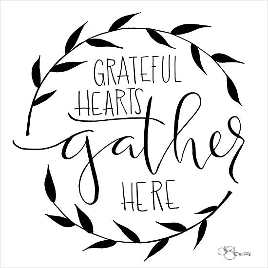 Hollihocks Art HH111 - Grateful Hearts Gather Here - 12x12 Grateful Hearts, Gather Here, Wreath, Gather, Calligraphy from Penny Lane