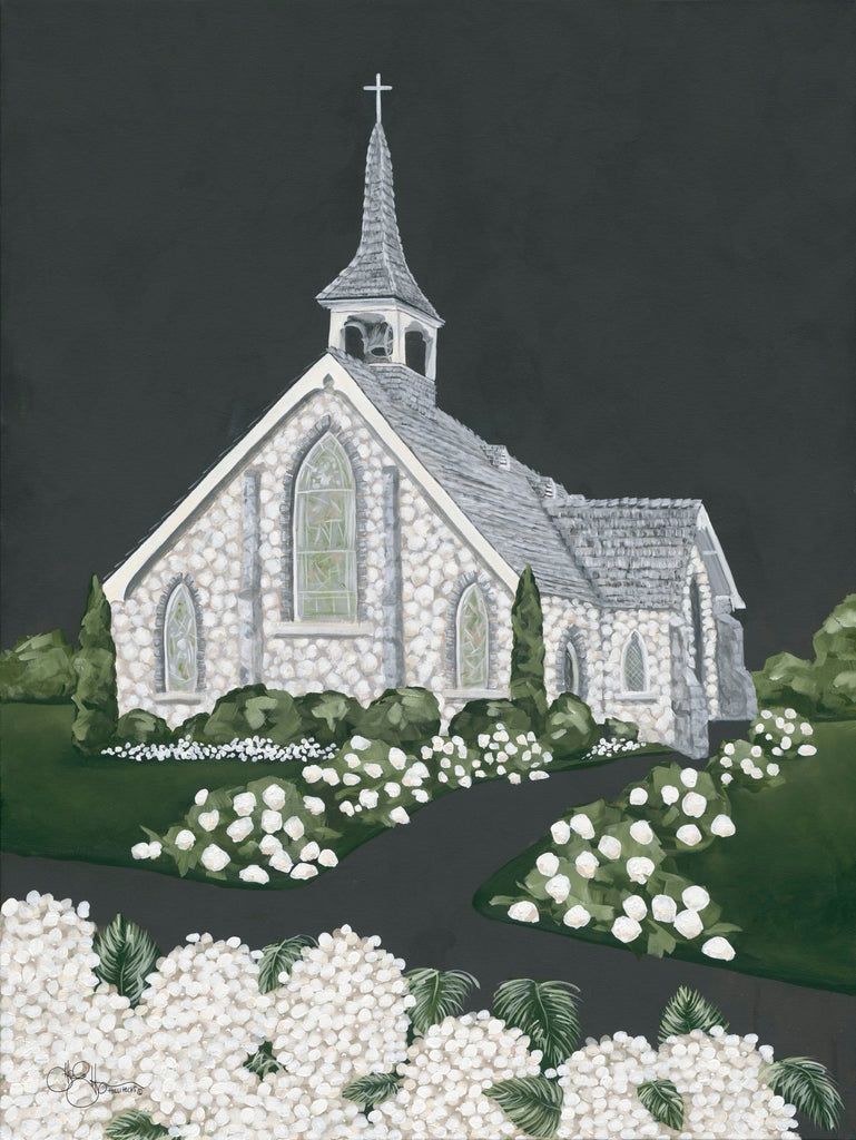 Hollihocks Art HH130 - HH130 - White Church - 12x16 Church, Flowers, White Flowers, Religious, Chalkboard from Penny Lane