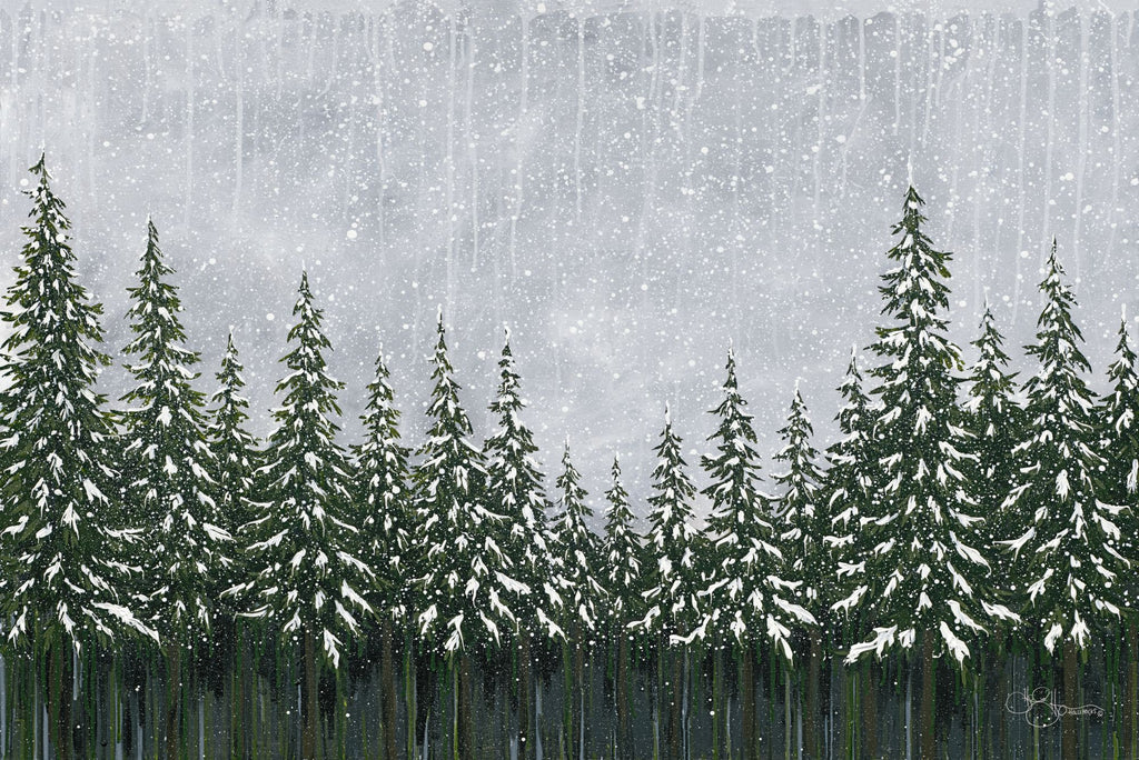 Hollihocks Art HH132 - HH132 - Snowy Forest - 18x12 Forest, Snow, Pine Trees, Evergreen Trees, Christmas Trees, Winter from Penny Lane