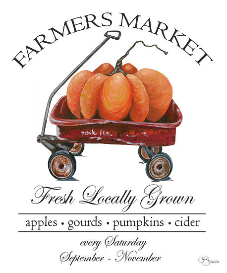 Hollihocks Art HH135 - HH135 - Farmers Market Sign - 12x16 Farmers Market, Wagon, Pumpkins, Harvest, Autumn, Signs, Announcement from Penny Lane