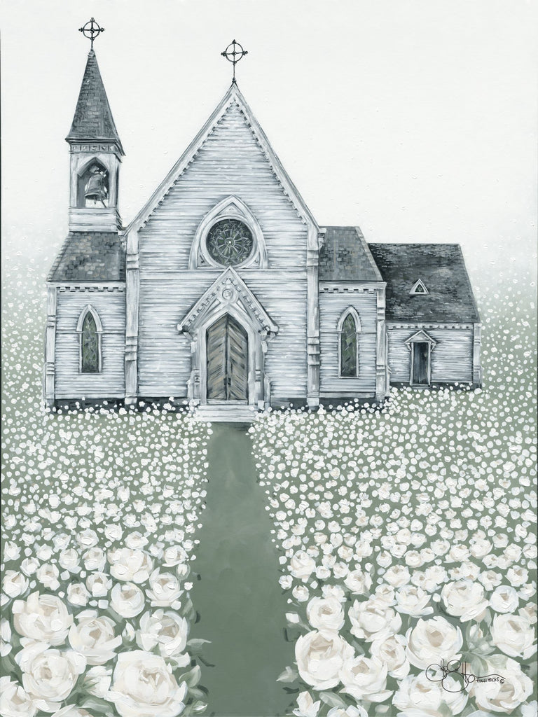 Hollihocks Art HH137 - HH137 - Holy Spirit Lead Me - 12x16 Church, Flowers, White Flowers, Religious  from Penny Lane