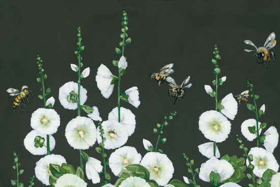 Hollihocks Art HH143 - HH143 - Bees - 18x12 White Flowers, Flowers, Bees, Chalkboard from Penny Lane