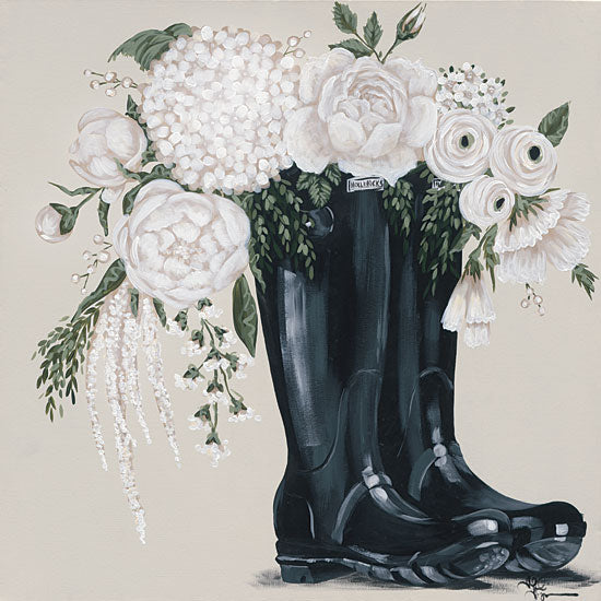 Hollihocks Art HH146 - HH146 - Flowers and Black Boots - 12x12 Black Boots, Rain Boots, Flowers, White Flowers, Garden from Penny Lane