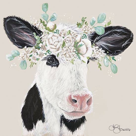 Hollihocks Art HH149 - HH149 - Patience the Cow - 12x12 Portrait, Cow, Floral, Botanical, Farm Animals from Penny Lane