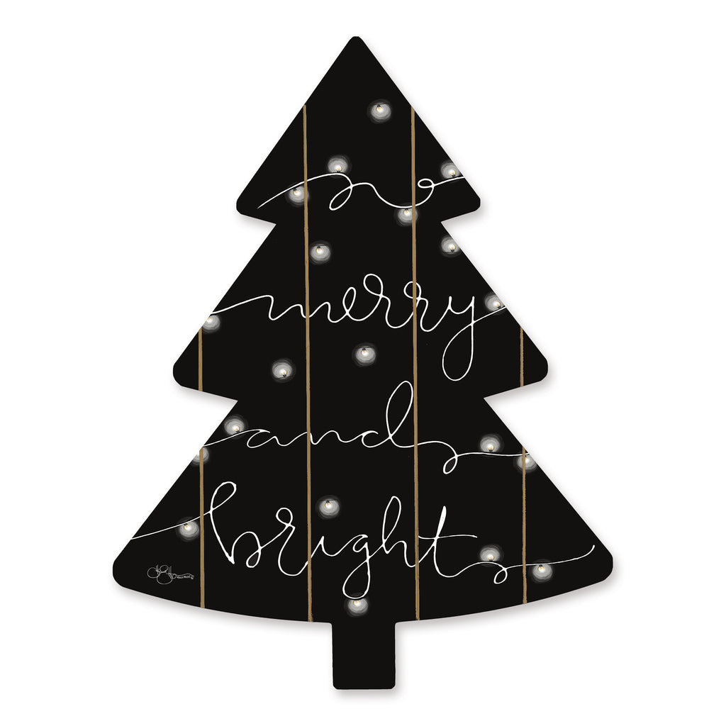 Hollihocks Art HH163TREE - HH163TREE - Merry & Bright  - 14x18 Signs, Black & White, Christmas Tree, Merry and Bright, Christmas Lights, Typography from Penny Lane