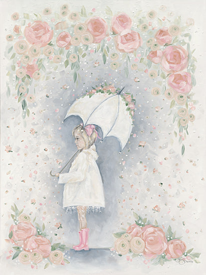 Hollihocks Art HH170 - HH170 - Georgia in the Rain - 12x16 Girl, Flowers, Umbrella, Rain Boots from Penny Lane