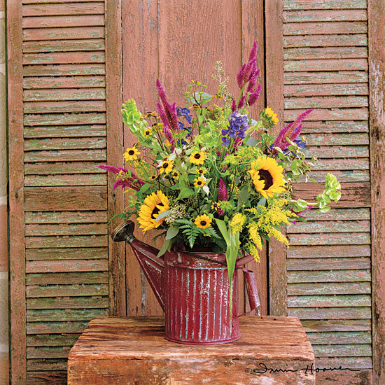 Irvin Hoover HOO105 - HOO105 - Gardener's Bouquet - 12x12 Shutters, Photography, Flowers, Sunflowers, Watering Can, Vintage from Penny Lane
