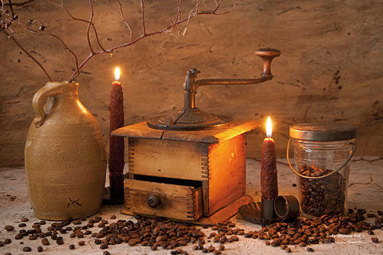 Irvin Hoover HOO115 - HOO115 - Early Morning Coffee - 18x12 Coffee Grinder, Candles, Crock, Still Life, Coffee Beans, Rustic from Penny Lane