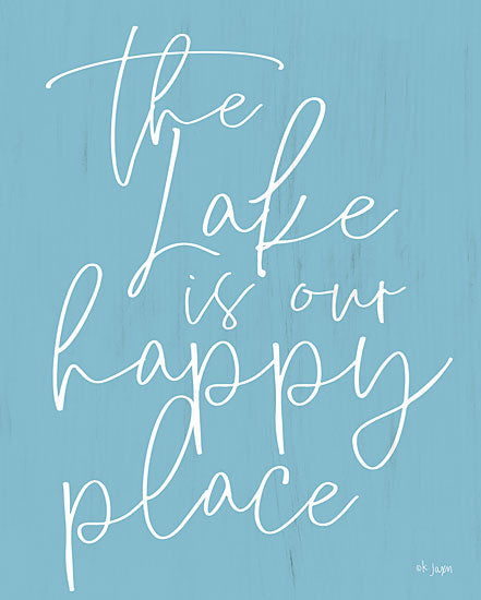 Jaxn Blvd. JAXN192 - JAXN192 - The Lake is Our Happy Place  - 12x18 Calligraphy, Lake, Happy Place, Signs from Penny Lane