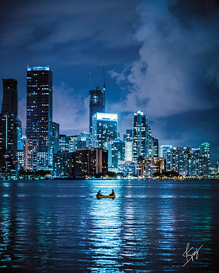 Justin Spivey JDS202 - Reflective Fishing - New York City, Skyline, Blue, Reflection, Fishing from Penny Lane Publishing