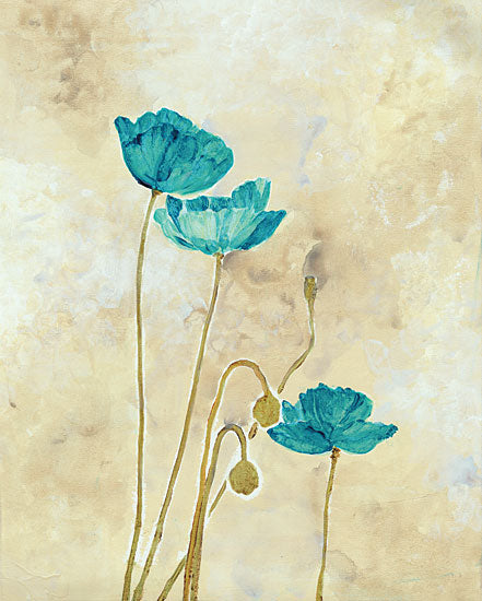 JG Studios JGS231 - JGS231 - Tealqoise Flowers II - 12x16 Abstract, Flowers, Blue Flowers, Botanical from Penny Lane
