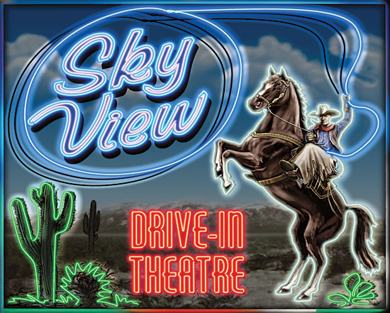 JG Studios JGS248 - JGS248 - Skyview Drive In III - 16x12 Drive In, Theatre, Movies, Cowboy, Neon, Horse, Nostalgia from Penny Lane