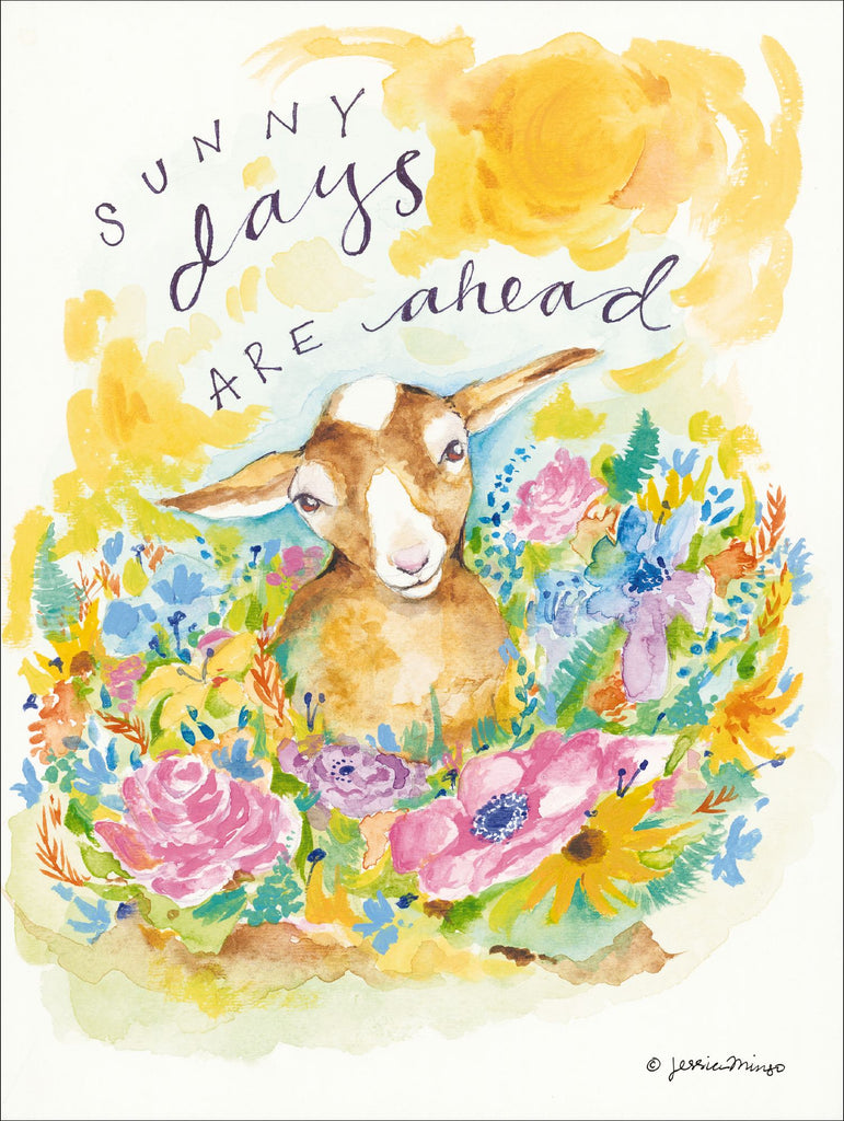 Jessica Mingo JM105 - JM105 - Sunny Days Ahead - 12x16 Baby Goat, Flowers, Signs,, Typography from Penny Lane
