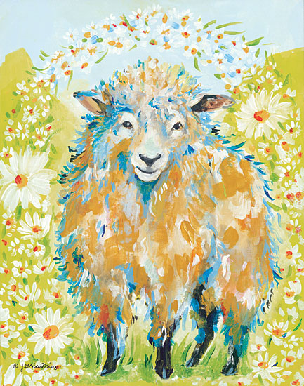 Jessica Mingo JM113 - Daisy Fields Sheep, Flowers, Daisies, Fields, Meadows from Penny Lane