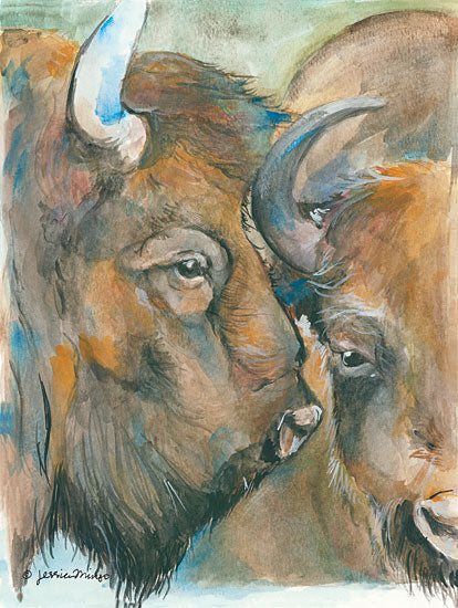 Jessica Mingo JM120 - The Herd Buffalos, Bison, Portrait from Penny Lane