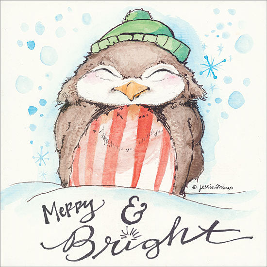Jessica Mingo JM127 - Merry & Bright Merry & Bright, Bird, Green Stocking Hat, Snow from Penny Lane
