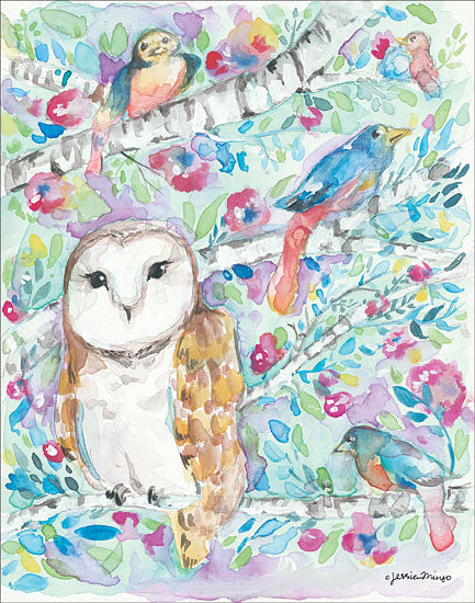 Jessica Mingo JM148 - Afternoon Bloom Owl, Birds, Watercolor, Birch Trees, Flowers from Penny Lane