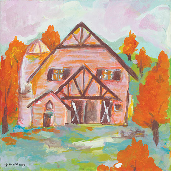 Jessica Mingo JM159 - Pink Cloud Barn - 12x12 Barn, Abstract, Pink, Farm, Rustic, Autumn from Penny Lane