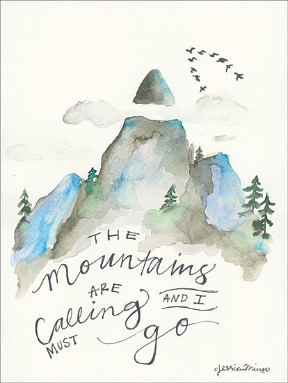 Jessica Mingo JM161 - The Mountains are Calling - 12x16 The Mountains are Calling, Mountains, Calligraphy, Birds from Penny Lane