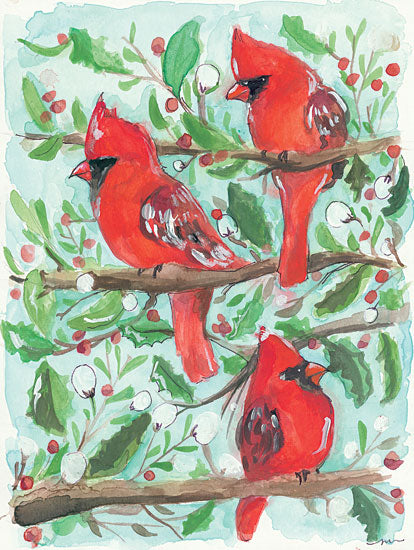 Jessica Mingo JM163 - Christmas Morning - 12x16 Holiday, Cardinals, Holly, Berries, Winter, Trees from Penny Lane