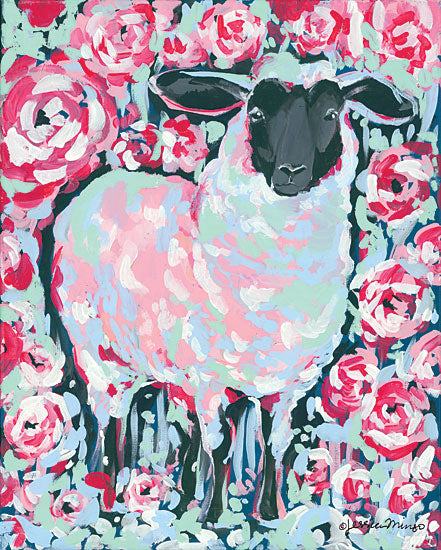 Jessica Mingo JM182 - My Sheep Rose - 12x16 Sheep, Roses, Abstract, Triptych from Penny Lane
