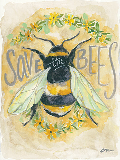 Jessica Mingo JM268 - JM268 - Save the Bees - 12x16 Bees, Save the Bees, Flowers, Sign, Typography from Penny Lane