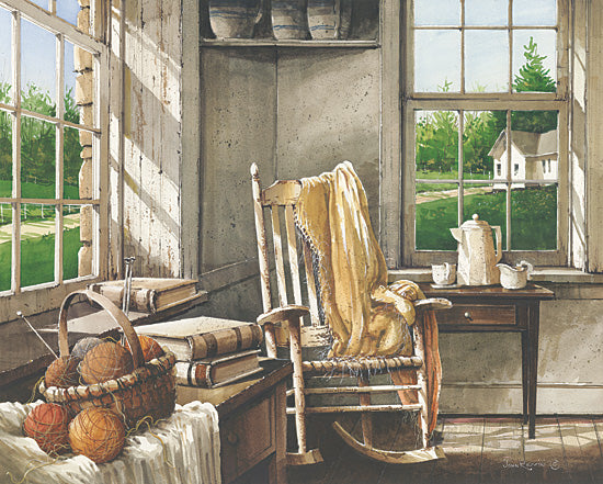 John Rossini JR105 - Corner Comforts - Room, Rocking Chair, Throw, Yarn, Books, Window from Penny Lane Publishing