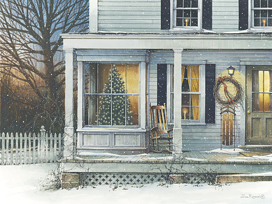 John Rossini JR140 - December Glow - Front Porch, Snow, Winter, Christmas Tree, Sled from Penny Lane Publishing