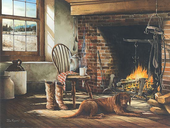 John Rossini JR227 - His Morning Coffee - Dog, Fireplace, Chair, Crocks, Room, Antiques from Penny Lane Publishing