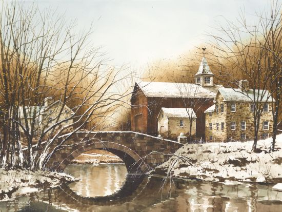John Rossini JR277 - Winter Reflections Stone Bridge, Barn, Winter, Creek, Snow, Stone House from Penny Lane